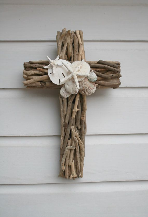 Driftwood Seashell Cross/Beach Wedding Cross ~by My Honeypickles