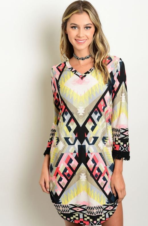Black and Coral Tribal Dress
