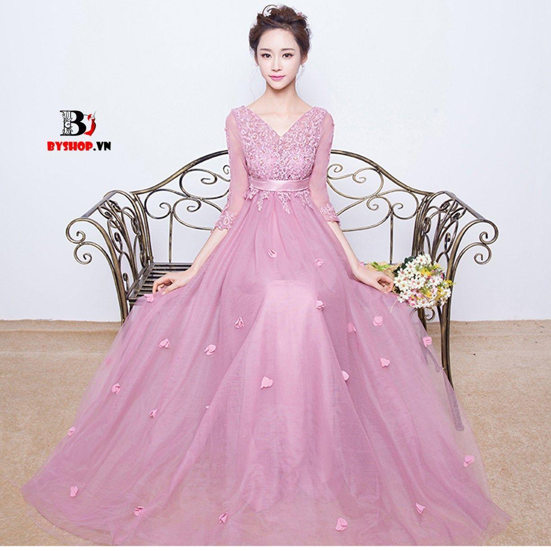 HK531 - Đầm dạ hội ren voan màu hồng phấn tay lửng nữ tính | Pinterest