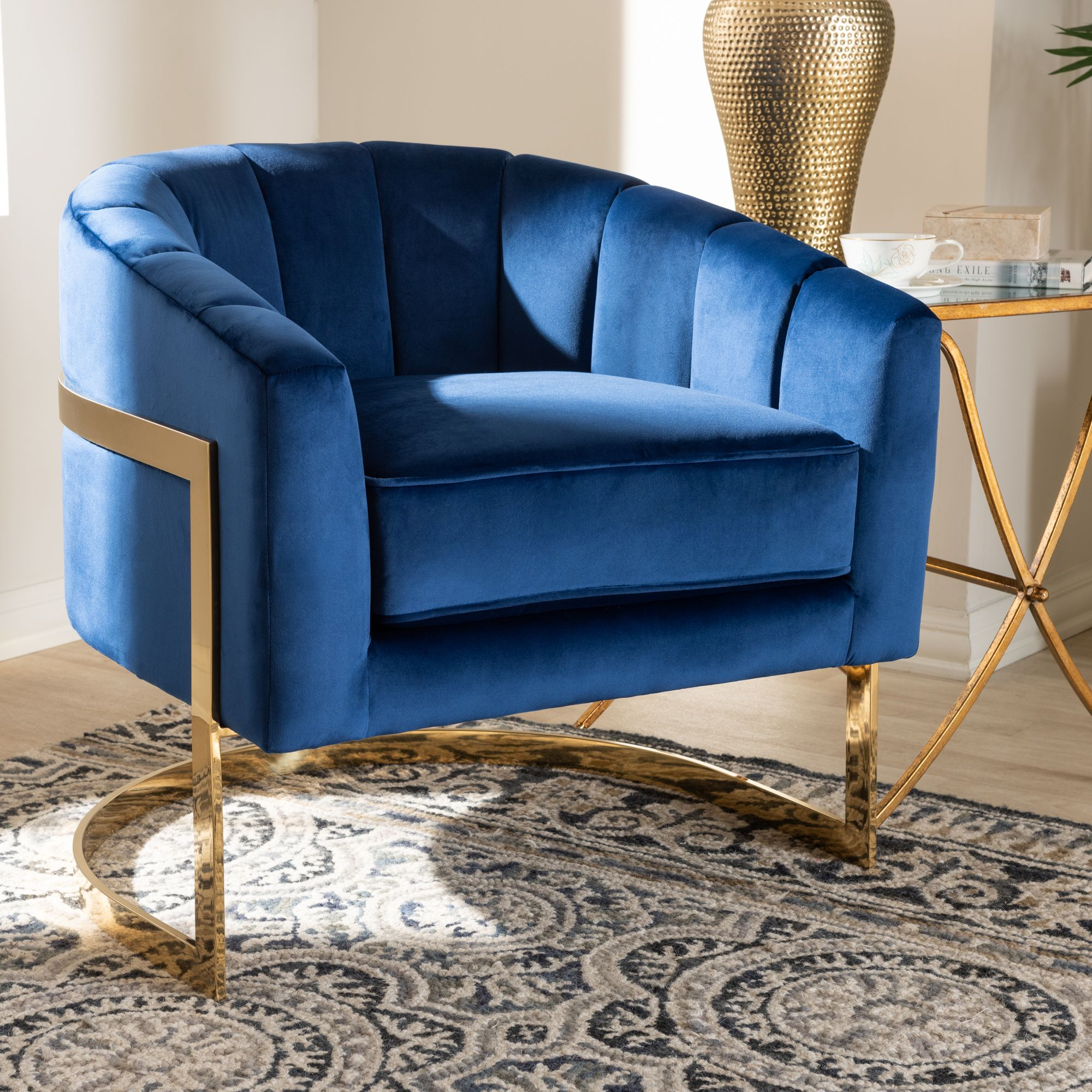 Baxton Studio Tomasso Glam Royal Blue Velvet Fabric Upholstered Gold Finished Lounge Chair Bsotsf7707 Dark Roya White Dining Chairs Velvet Lounge Chair Chair