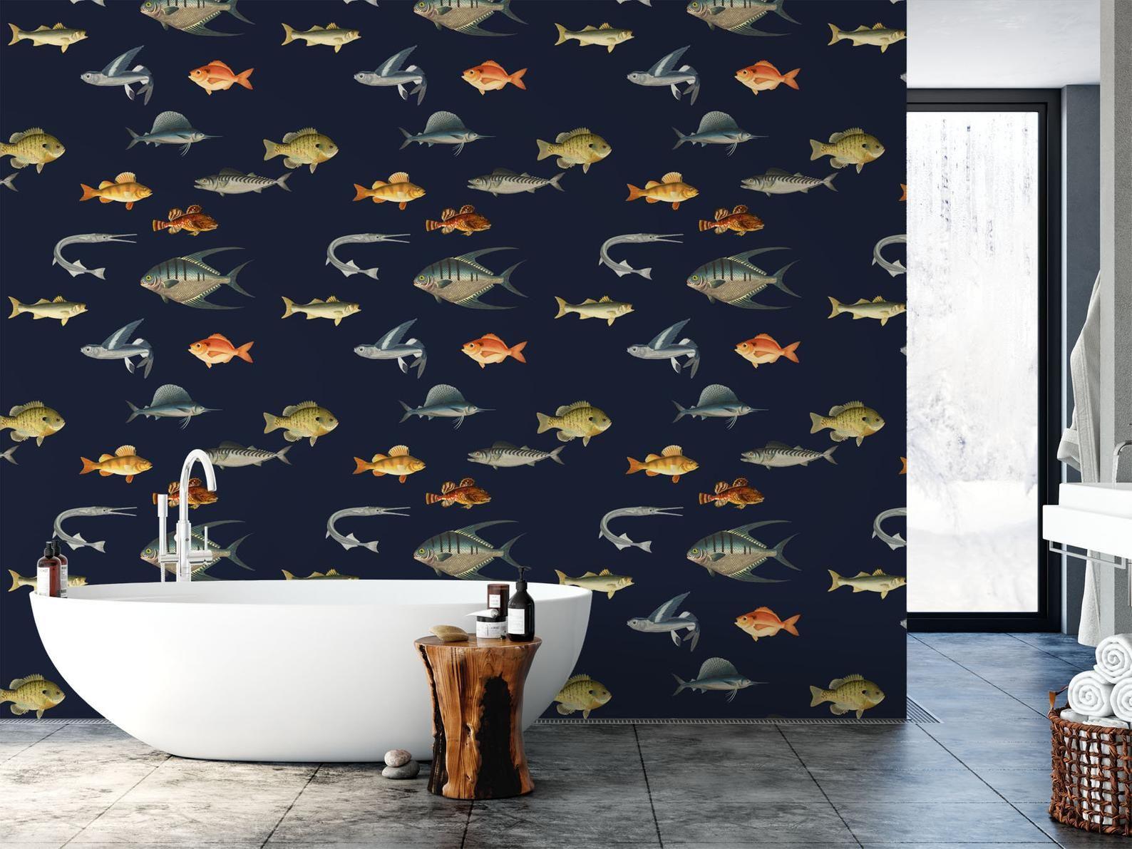 Ocean Wallpaper Removable Nautical Wallpaper Fish Wallpaper Etsy Modern Wallpaper Nautical Wallpaper Ocean Wallpaper