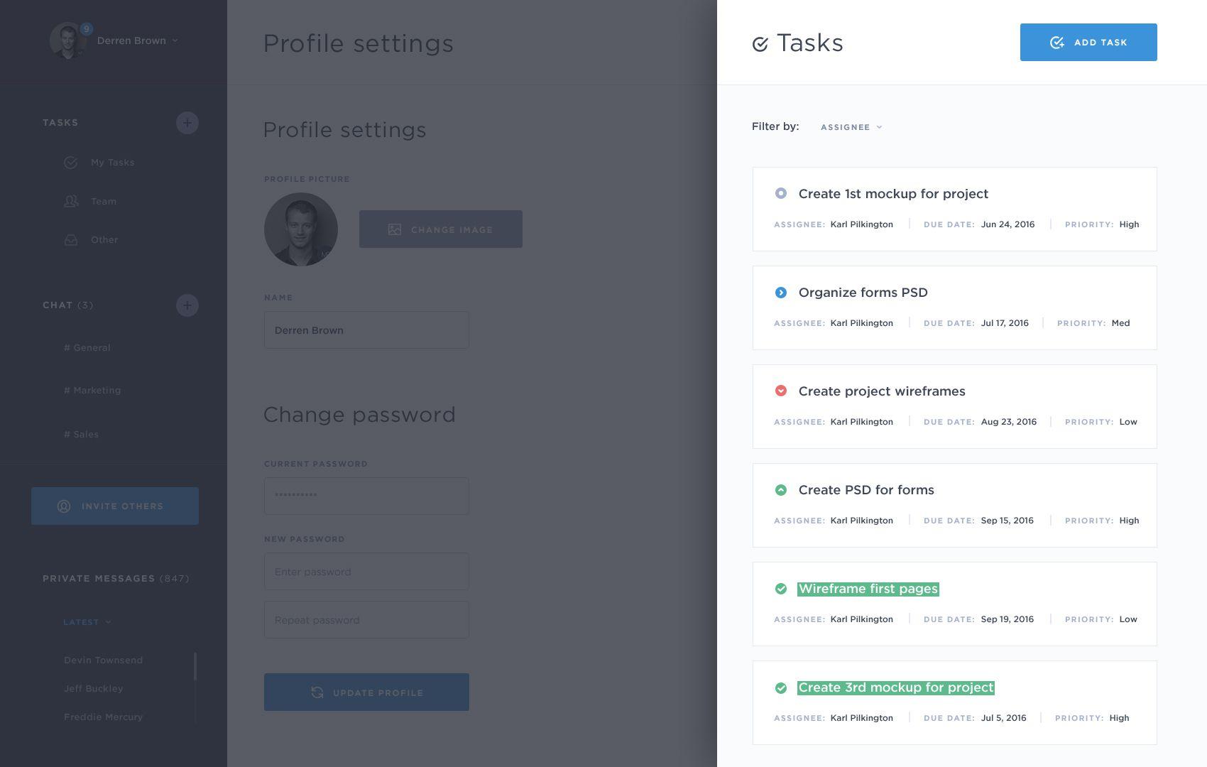 5. doiq   my tasks  profile settings page