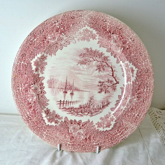 SOLD - Vintage Pink Red Transferware Dinner Plate with Boat Scene by English Ironstone Tableware Ltd & Vintage Pink Red Transferware Dinner Plate with Boat Scene by ...
