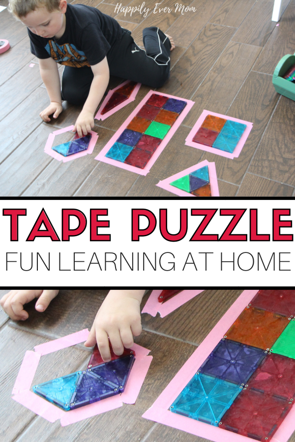 Tape Puzzle: A Fun Learning Activity at Home - Happily Ever Mom