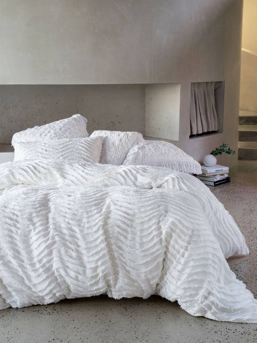 Drift White Quilt Cover Set Modern Chenille Contemporary Bedding Textured Bedding Boho Bedding Vintag White Quilt Cover Textured Bedding Bed Linens Luxury