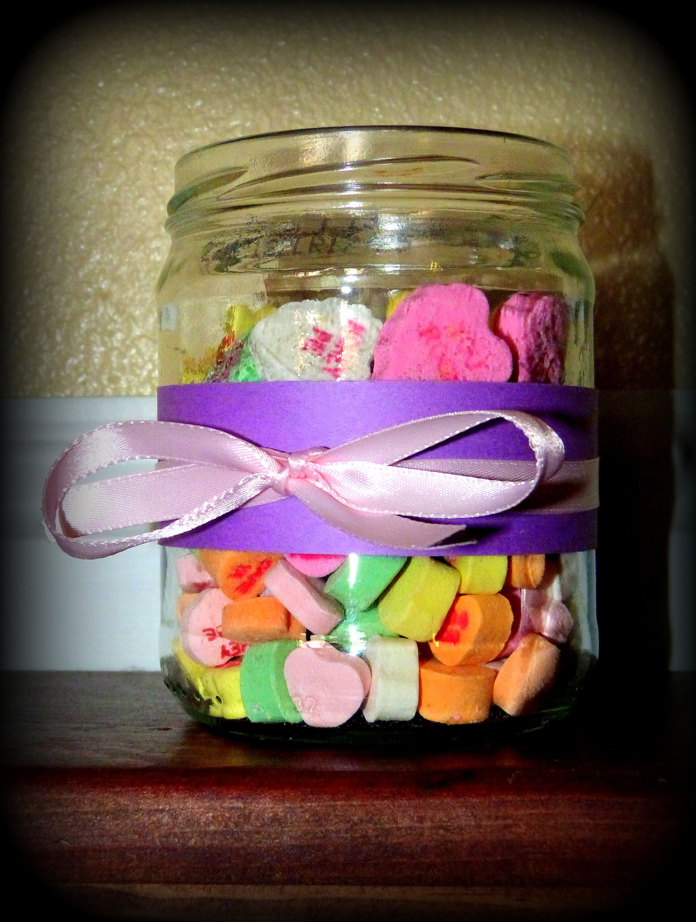 Candles With Gifts Inside Diy Mason Jar Ribbon Candy Hearts And Votive Candle