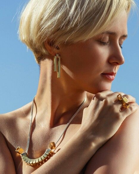Elegant gold  Don't be a square- just wear them. Hand made jewelry. Lia Elnatan