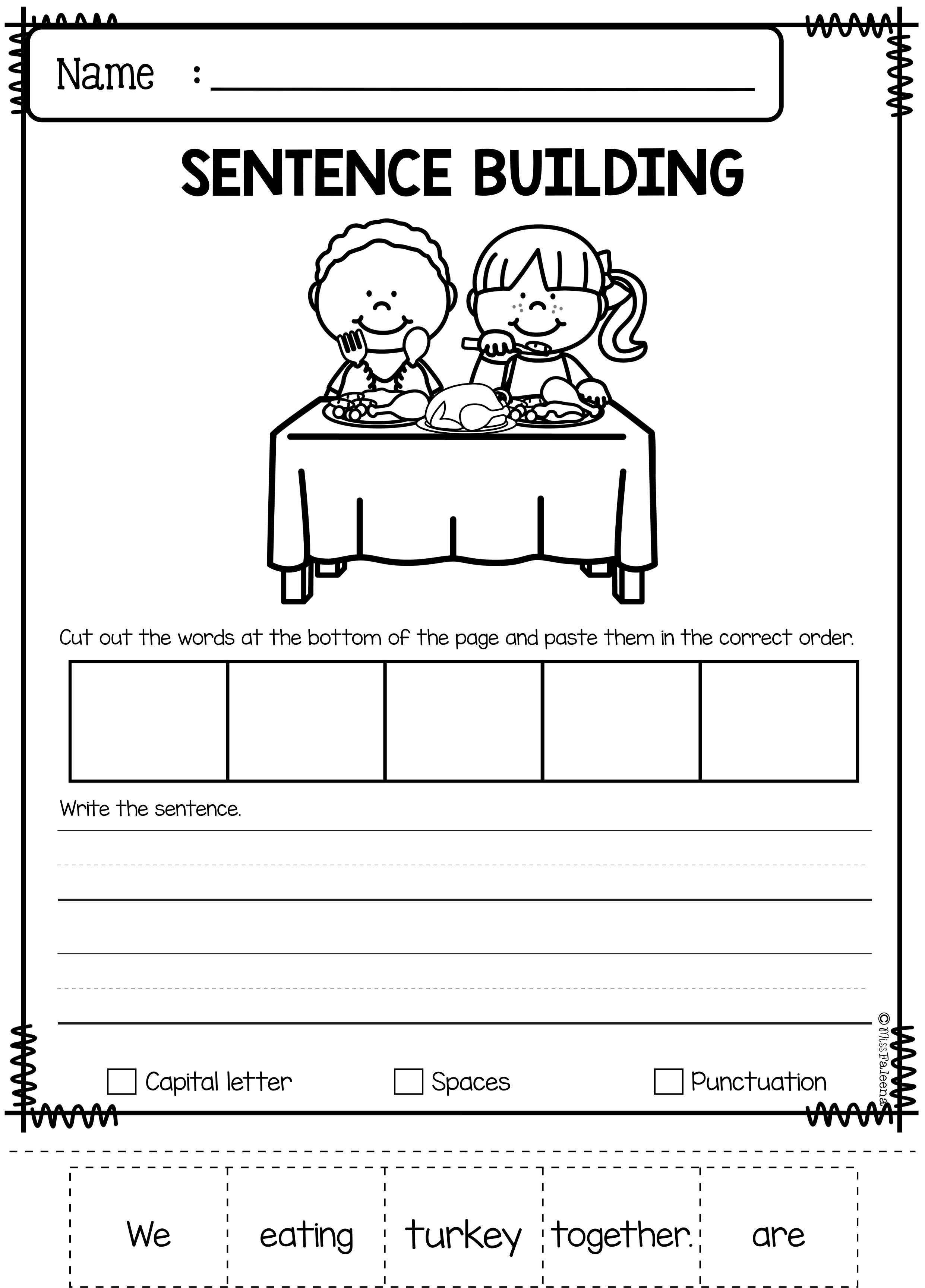 november sentence building has 30 pages of sentence building worksheets this product will teach. Black Bedroom Furniture Sets. Home Design Ideas