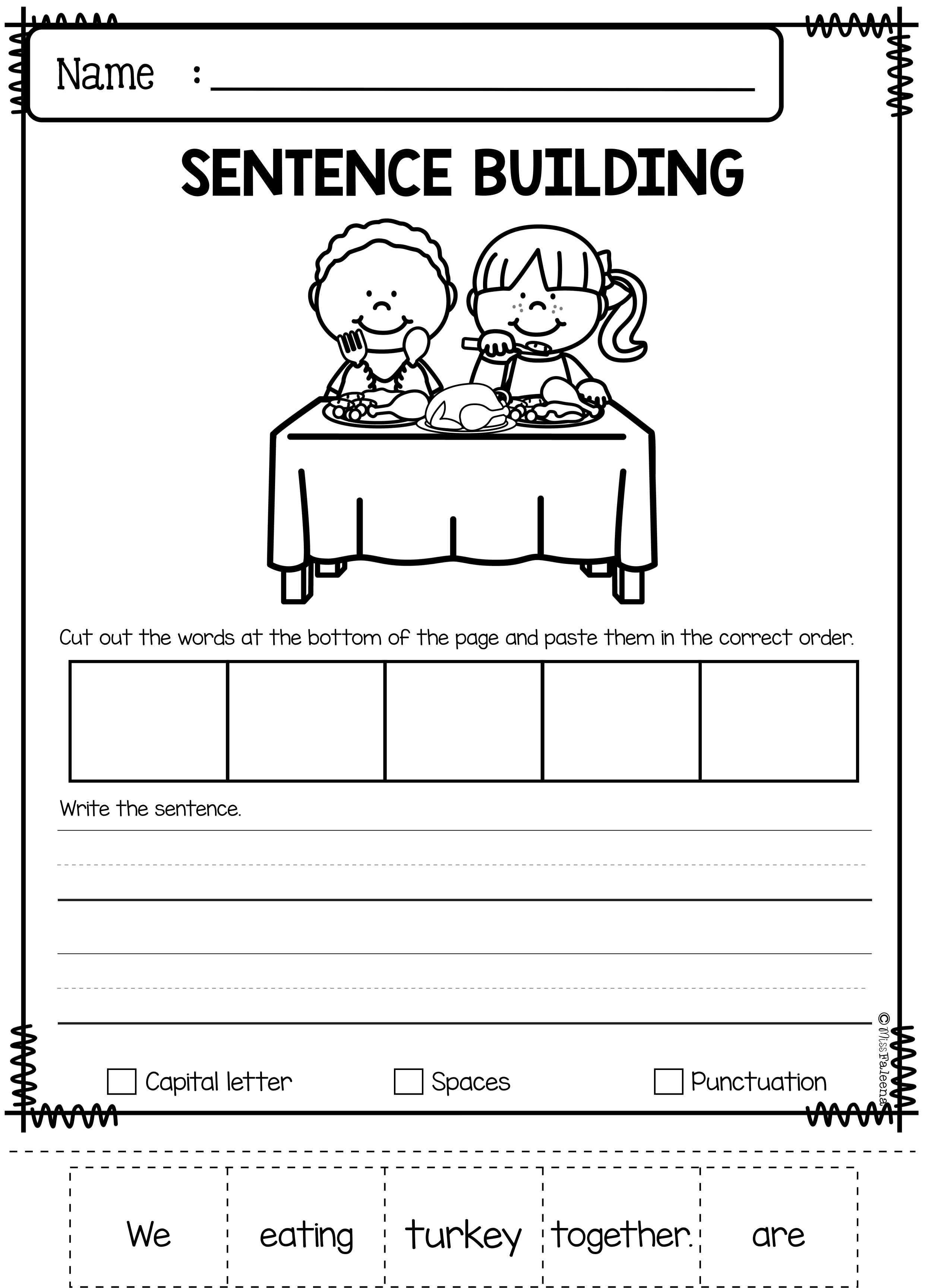 november sentence building school sentence building kindergarten lessons writing skills. Black Bedroom Furniture Sets. Home Design Ideas