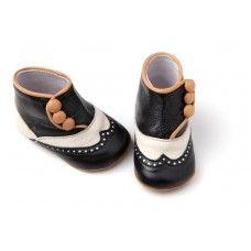 Unisex spectator-spat booties, handmade Italian leather