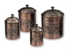 4 Pc. Antique Heritage Copper Canister Set. Handcrafted by skilled artisans. Only $77.01.