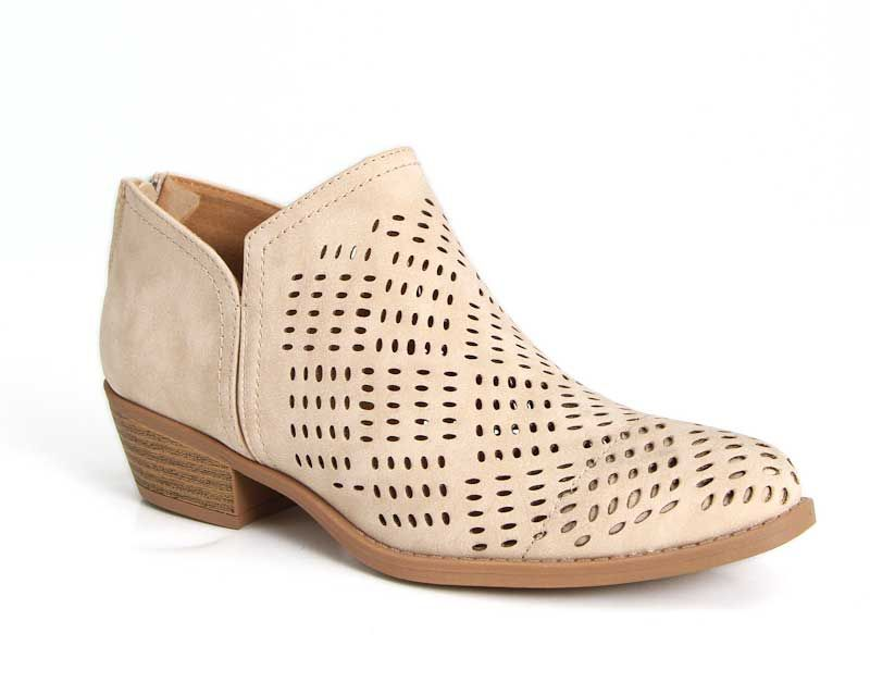 5d728c6bf264e0 Qupid Shoes Sochi Perforated Ankle Booties in Stone SOCHI-144-STONE ...