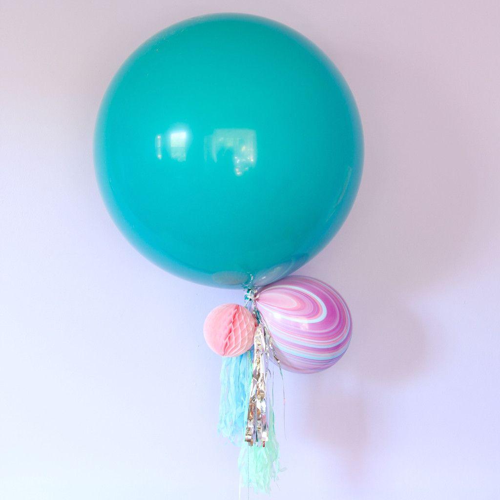 Teal Round Latex Balloon - 3ft
