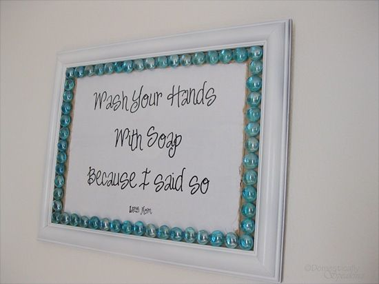 So simple...print your words on cardstock, glue some pretty stones on a frame...