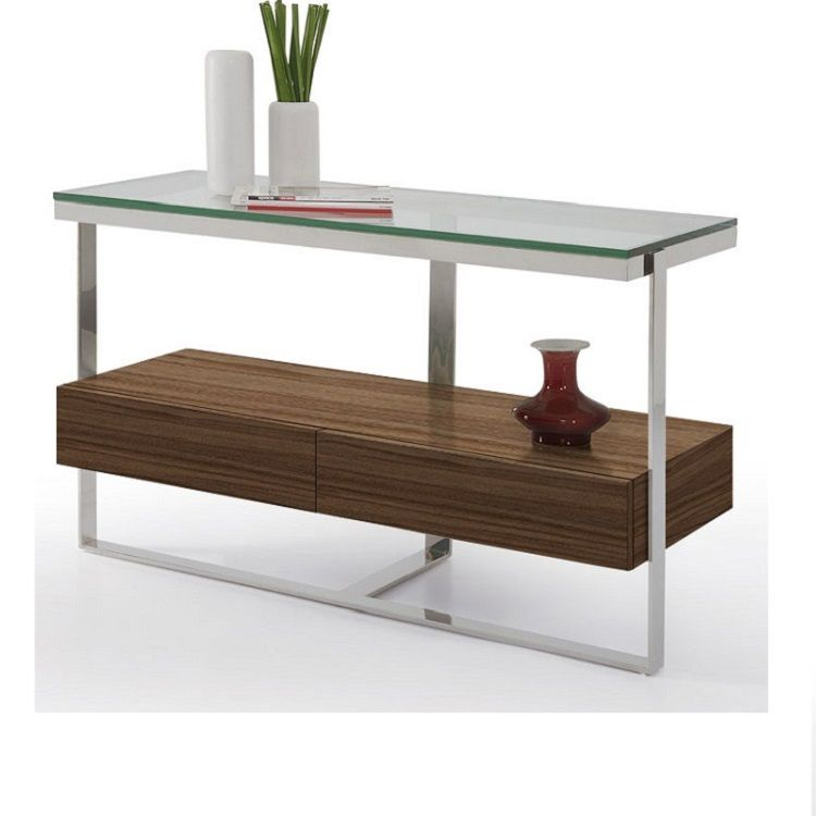 The Calypso Console Table Is Available With A Clear Glass Tabletop Polished Stainless Steel Frame And Two Walnut Drawers B Table Coffee Table Console Table