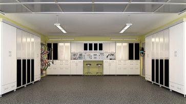 White And Black Garage Modern Garage And Shed St Louis Closet Factory Garage Interior Garage Storage Cabinets Garage Storage