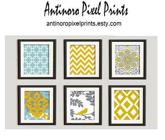 Digital Print Wall Art Golden Yellow turquoise Grey ...