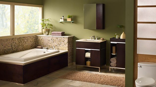 Incroyable Love The Green Brown Color Scheme Of This Bathroom. Contemporary, Minimal.