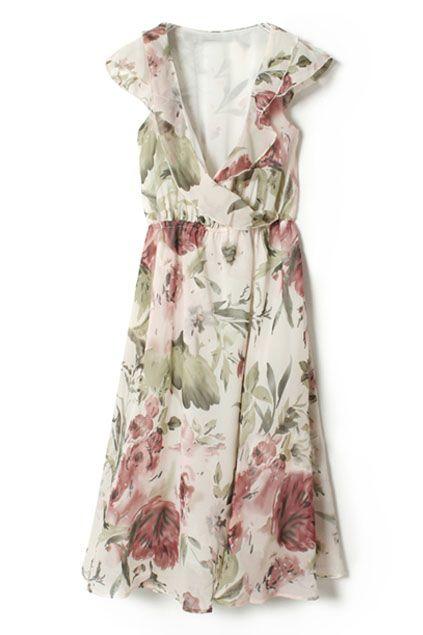 ROMWE | Flower Print V Neck Dress   $28.99