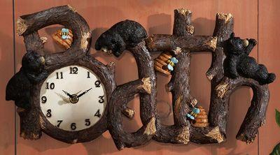 Cabin Bear Decor Northwoods Bath Time Clock Wall