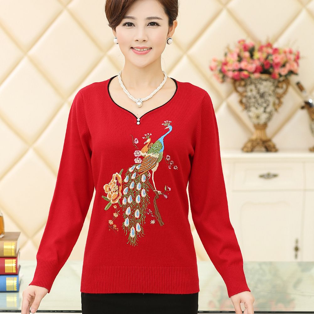 mother clothing 2015 new women's loose plus size basic sweater autumn and winter embroidery wool sweater pullover women top-inPullovers from Women's Clothing & Accessories on Aliexpress.com | Alibaba Group