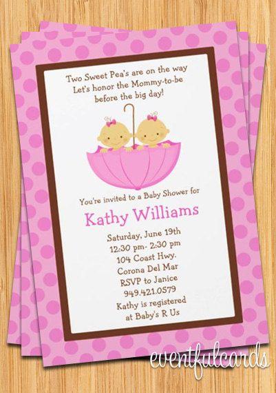Good Twins Baby Shower Invitation   Girls In Pink Umbrella. $15.99, Via Etsy.