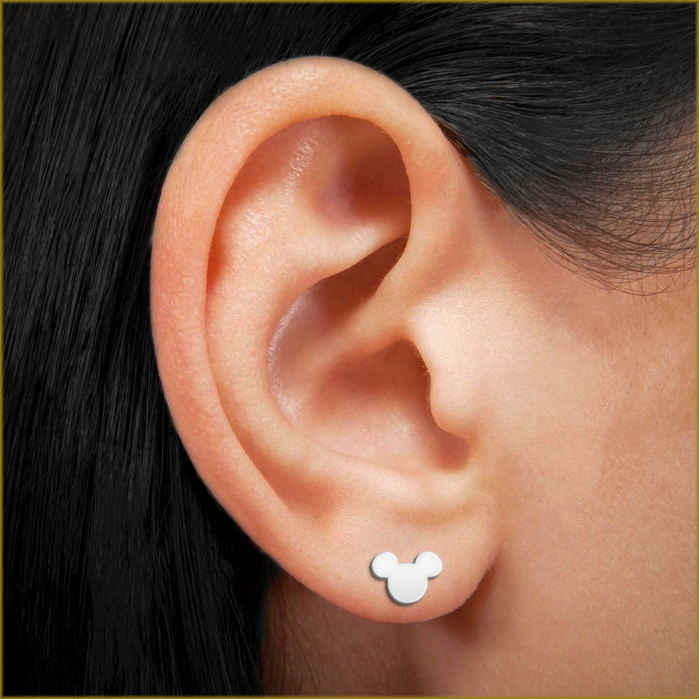 Above nose piercing  Mickey Mouse Stud Earrings