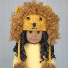 """LION  ~ Crocheted hat for American Girl Dolls made from pattern in the book """"Amigurumi Animal Hats for 18-Inch Dolls"""" by Linda Wright. amazon.com/..."""
