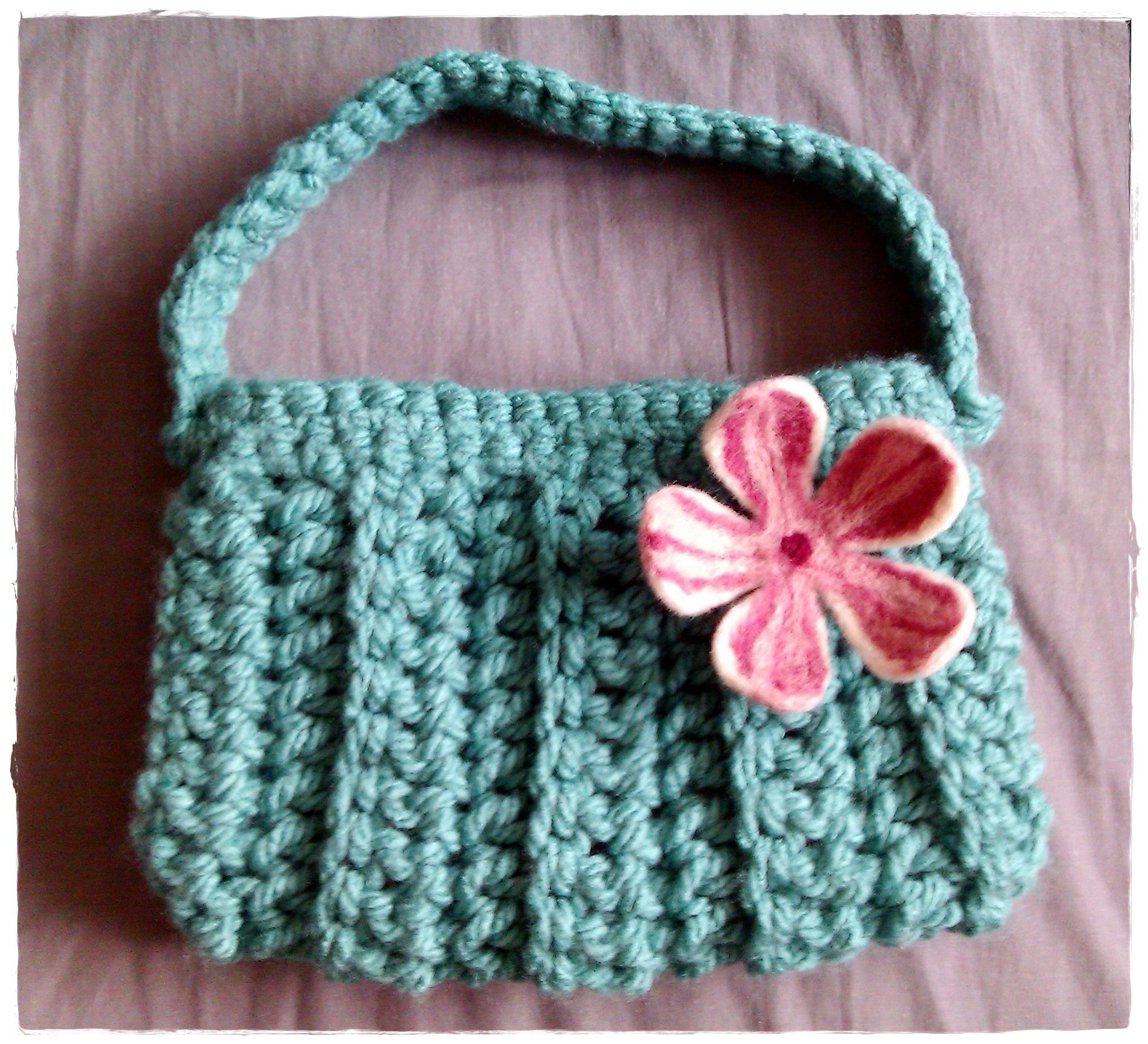 Crochet Bag with Needle felted flower Brooch.