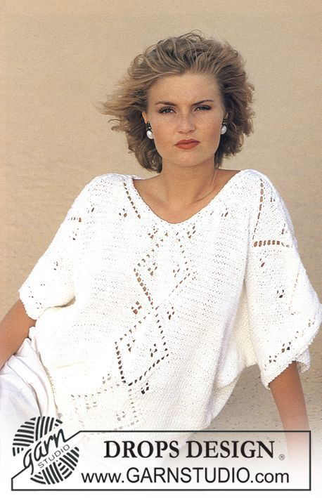 """Free pattern: DROPS jumper with lace pattern in """"Paris"""". One-size ..."""