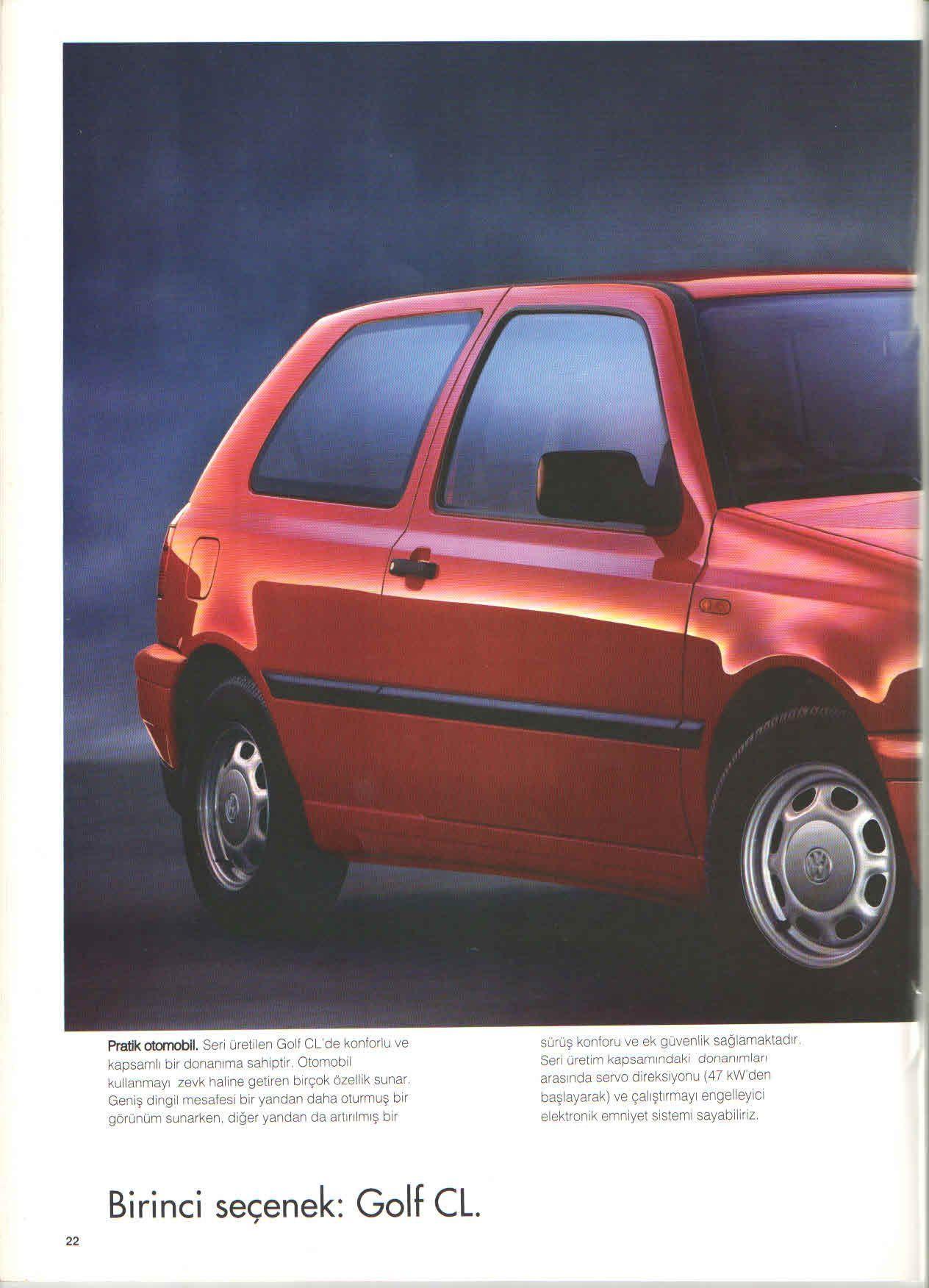 1996 Volkswagen Golf Mk3 Turkish Brochure Catalog Page 22 40