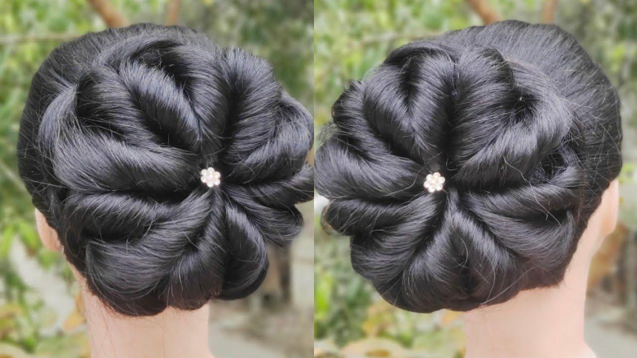 Latest Bridal Bun Hairstyle For Wedding Elegant Hairstyle New Hairstyle Ladies Hairs In 2020 Bridal Hair Buns Elegant Hairstyles Bridal Bun