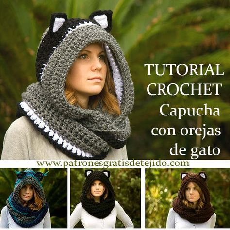 como tejer capucha crochet con orejas de gato | Patrones | Pinterest ...