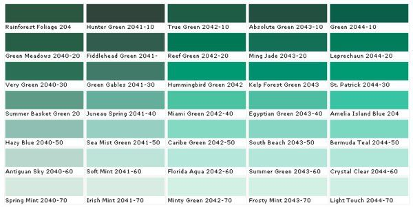Farbtafel Wandfarbe - Wählen Sie die richtigen Schattierungen   Grün ...