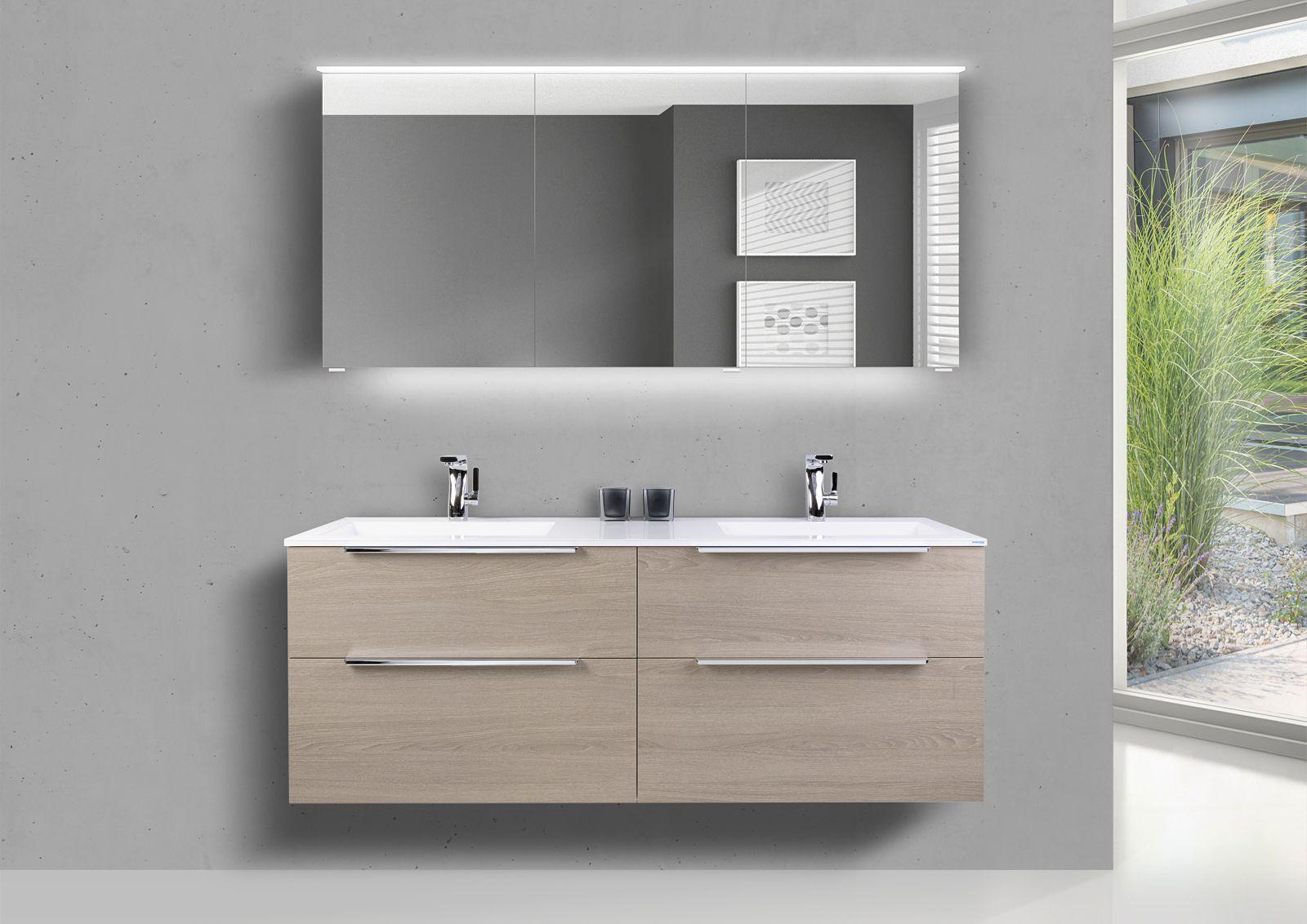 Badmobel Set 150 Cm Doppelwaschtisch Evermite Mit Unterschrank Und Led Spiegelschrank In 2020 Doppelwaschtisch Spiegelschrank Unterschrank
