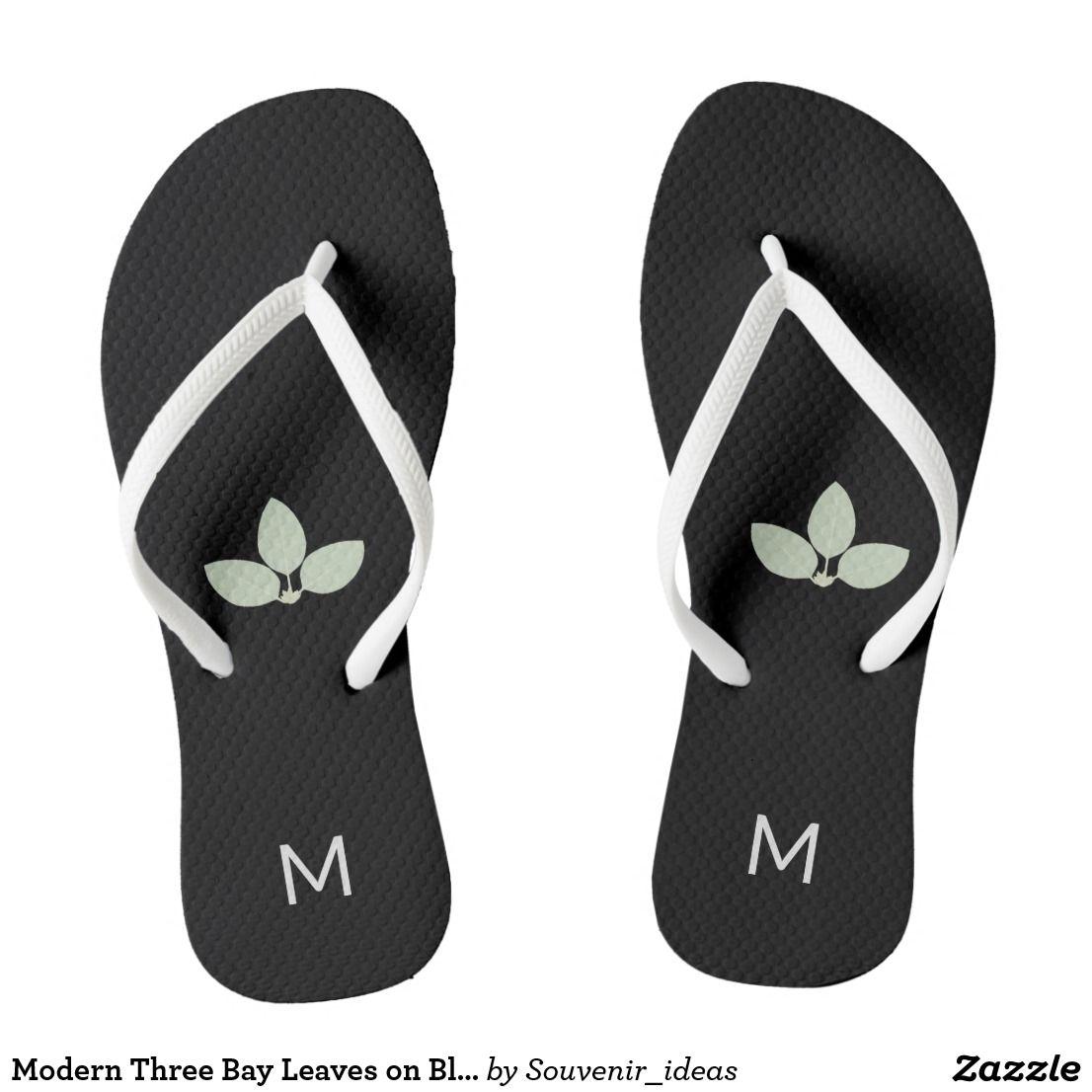Modern Three Bay Leaves On Black Flip Flops Zazzle Com Black