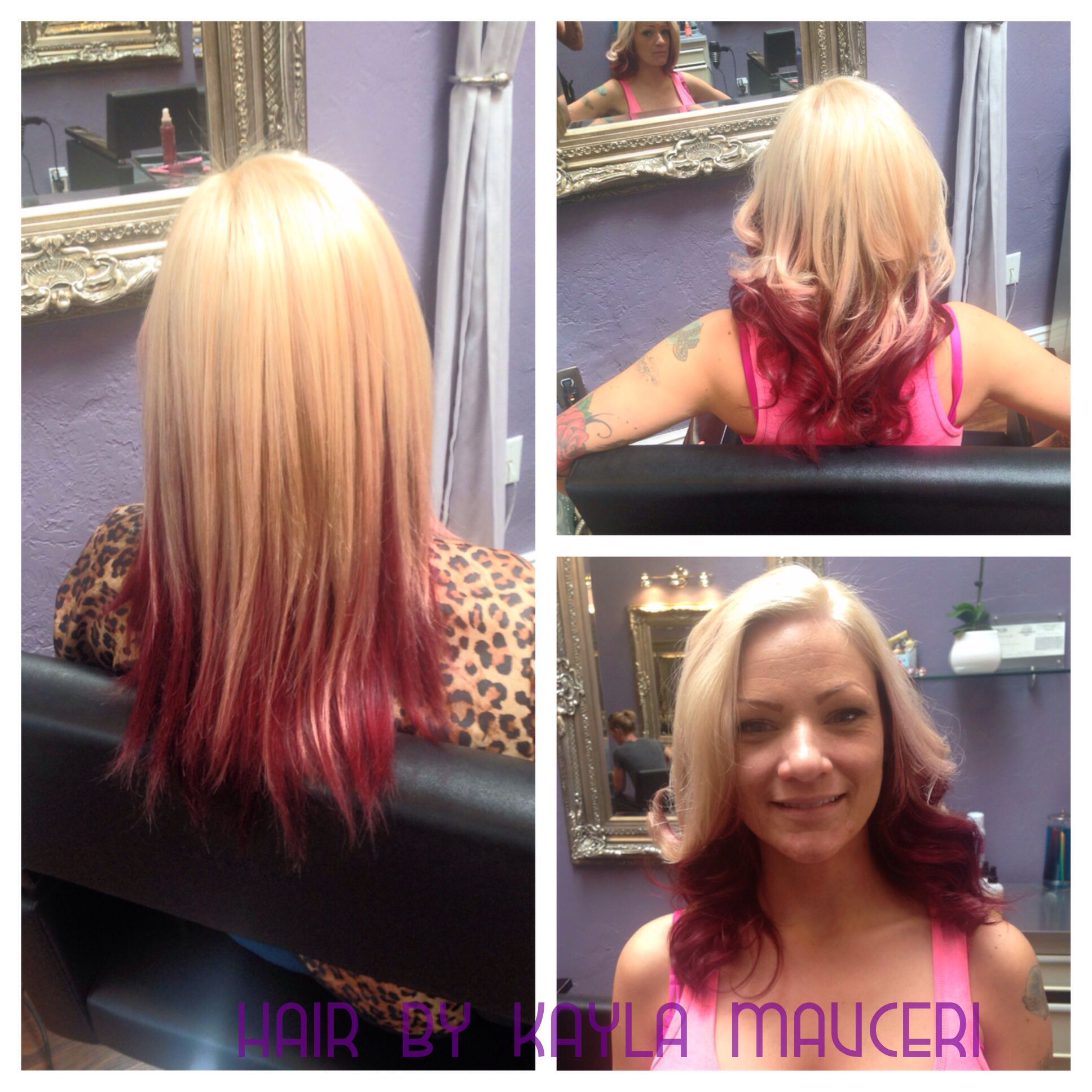 Violet Red And Blonde Two Tone Color Hair By Kayla Mauceri