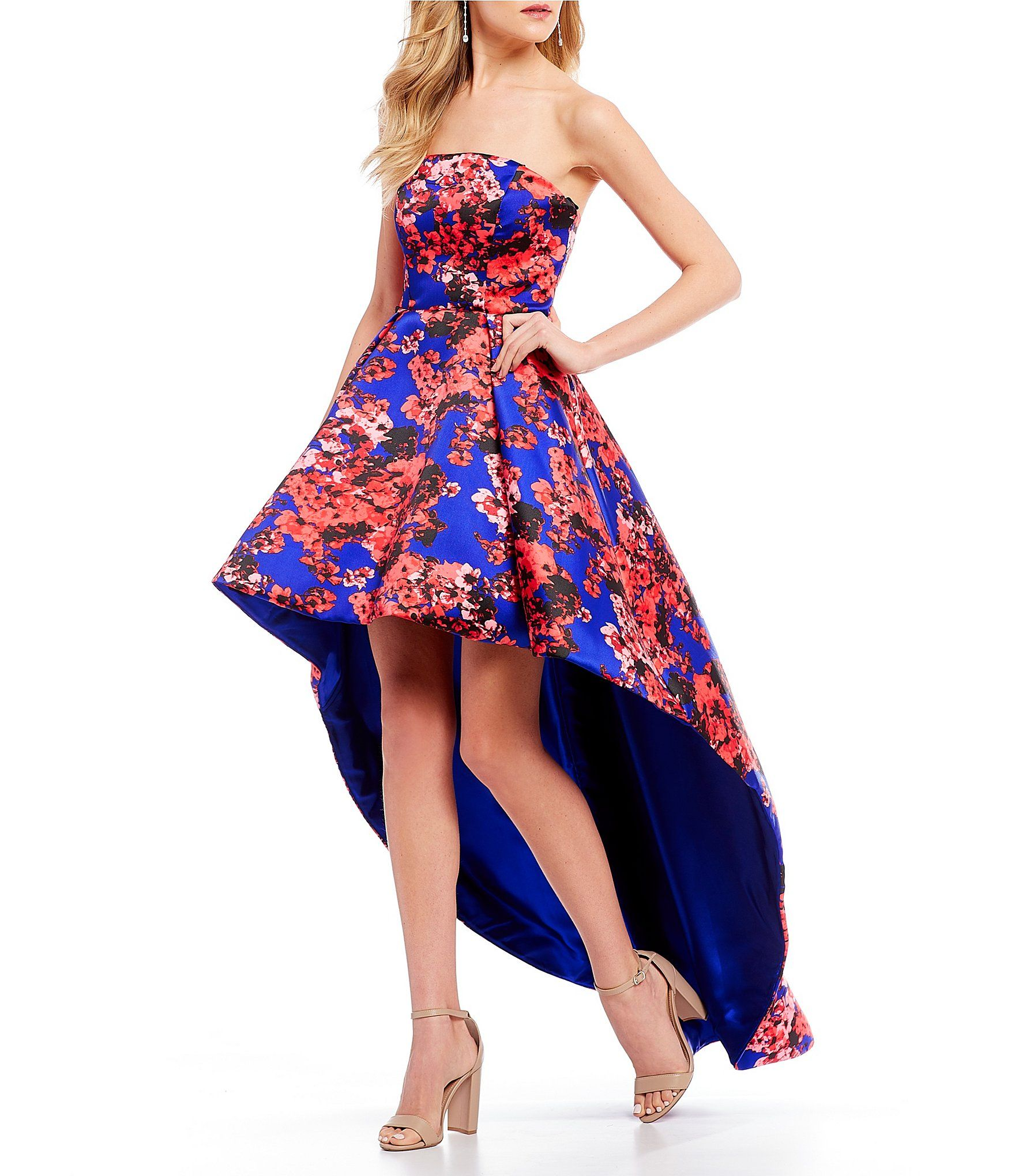 B darlin strapless floral long highlow dress high low