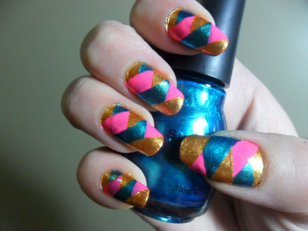 This style is called braided nail, for obvious reasons. Colors are ...