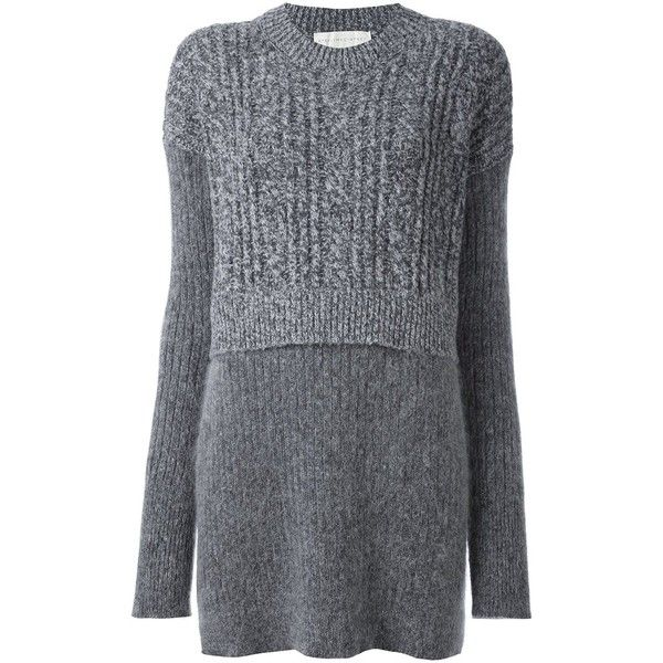 Stella McCartney oversize contrast draped jumper (7 485 SEK) ❤ liked on Polyvore featuring tops, sweaters, grey, wolf sweater, oversized jumper, long sweaters, long grey sweater and long jumpers