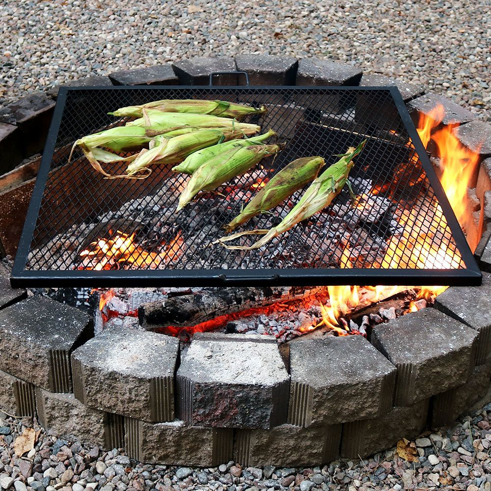 Sunnydaze X-Marks Square Fire Pit Cooking Grill | Cooking ...