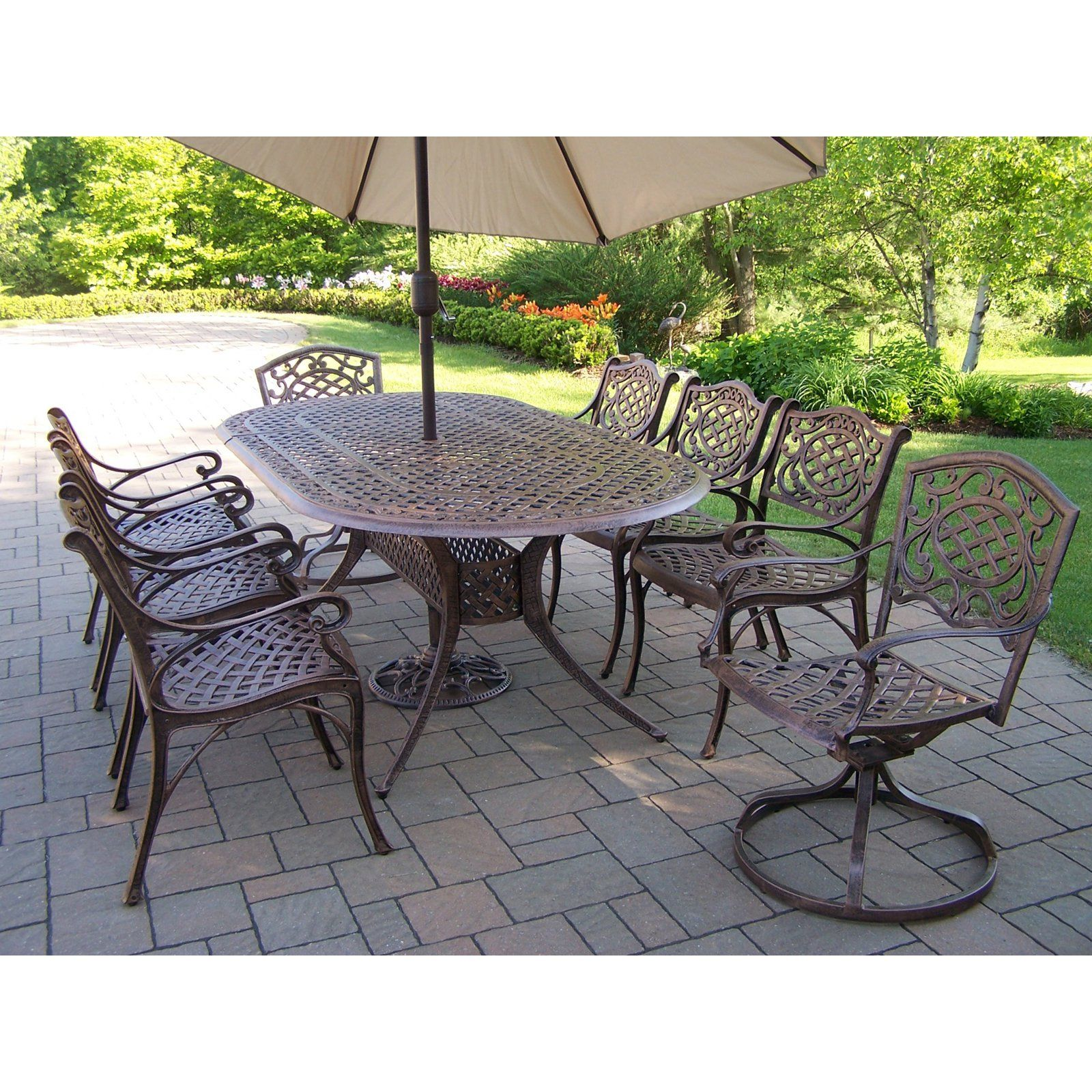 Outdoor Oakland Living Mississippi Aluminum 82 X 42 In Oval Patio