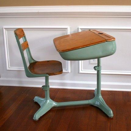 Vintage Turquoise Aqua Elementary School Storage Desk And Chair