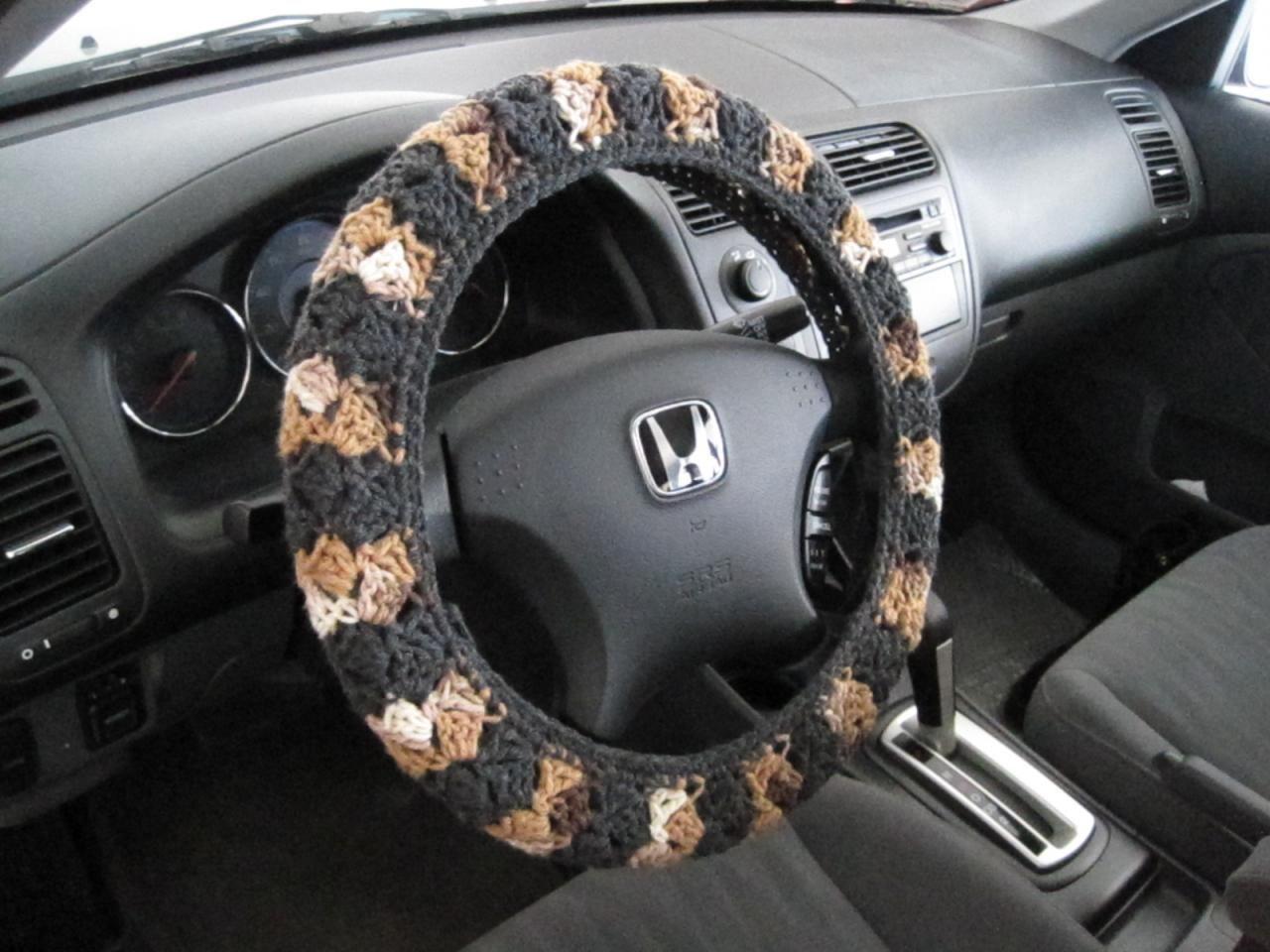 Crochet steering wheel cover wheel cozy dark wheel cover