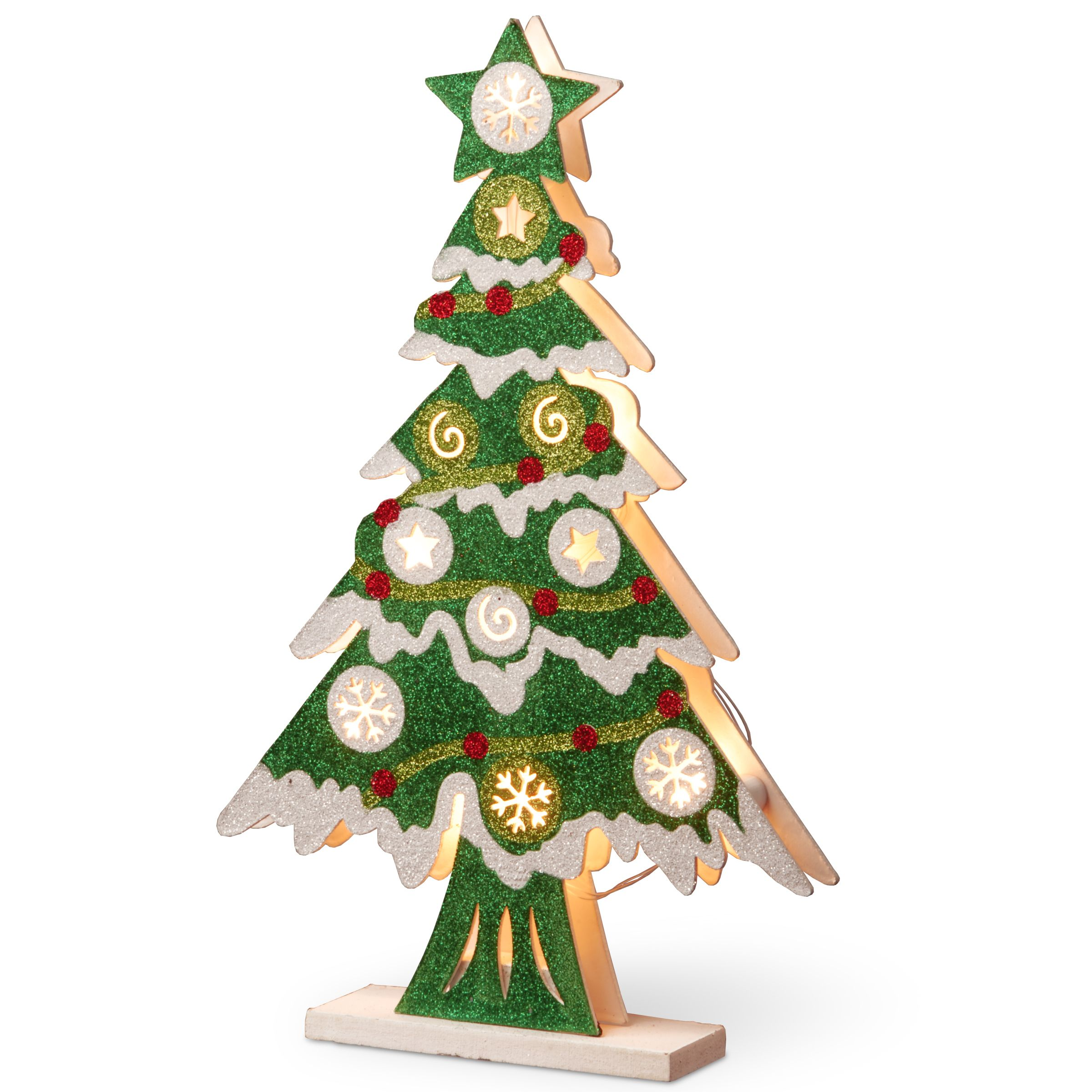 Wood 17-inch Pre-lit Christmas Tree (White, RED, Green)