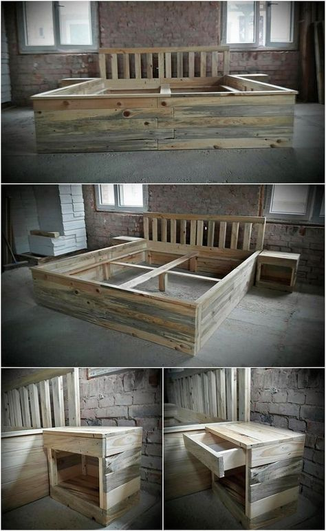 Recycled Wood Pallet Giant Bed Frame With Side Tables In