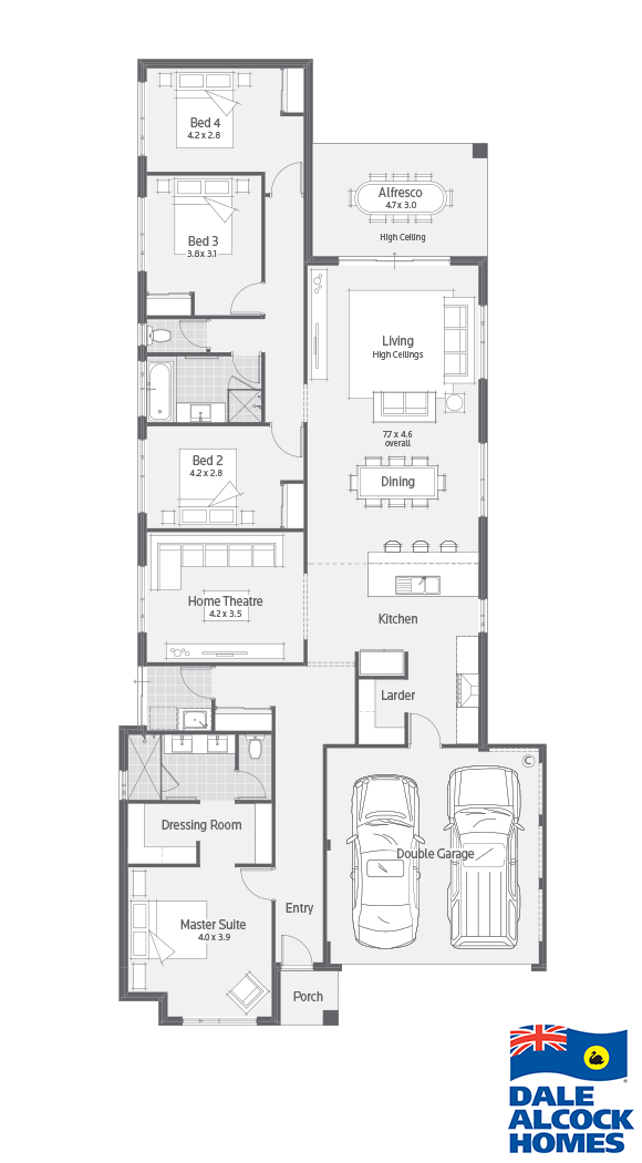 Byron Bay Dale Alcock Homes Would Work Well For Narrow Lot Or One With A View To One Side House Plans Australia Narrow House Plans Narrow Lot House Plans