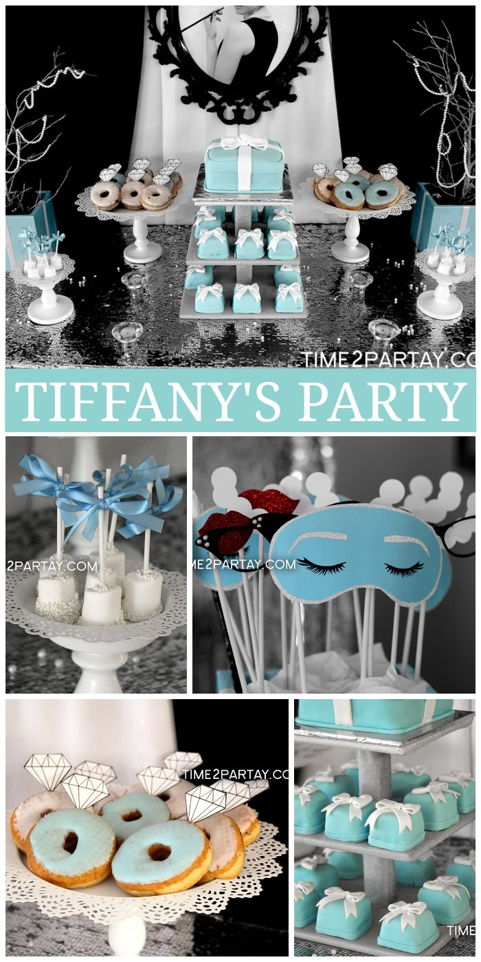 a tiffany co themed bridal shower with photo booth props tiny cakes and glamorous decorations see more party planning ideas at catchmypartycom