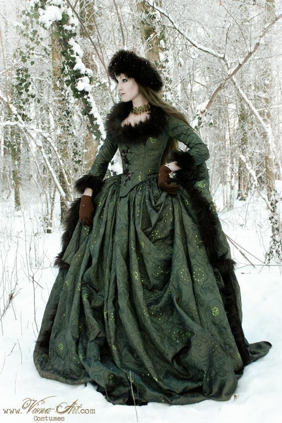 Russian Court gown in mossgreen ornamented taffeta and