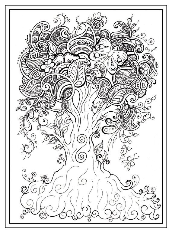 Adult colouring in PDF download tree dragonfly henna zen mandalas ...
